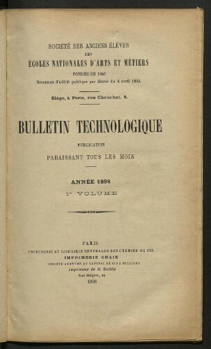Bulletin technologique 1898