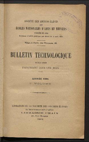 Bulletin technologique 1894