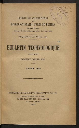Bulletin technologique 1892