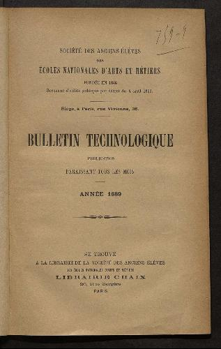 Bulletin technologique 1889
